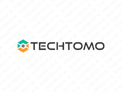 Techtomo logo design included with business name and domain name, Techtomo.com.