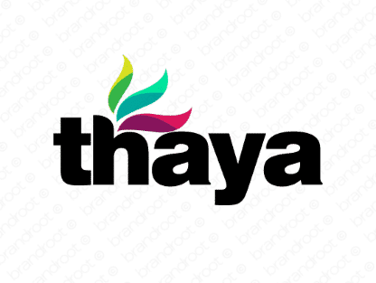 Thaya logo design included with business name and domain name, Thaya.com.