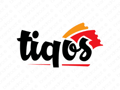 Tiqos logo design included with business name and domain name, Tiqos.com.