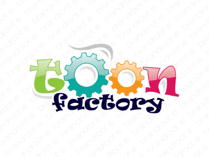 Toonfactory logo design included with business name and domain name, Toonfactory.com.