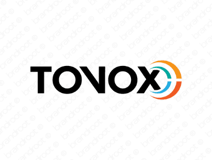 Tovox logo design included with business name and domain name, Tovox.com.