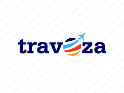 Travoza logo design included with business name and domain name, Travoza.com.