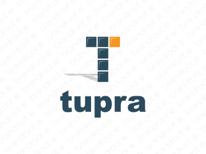 Tupra logo design included with business name and domain name, Tupra.com.