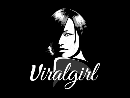 Viralgirl logo design included with business name and domain name, Viralgirl.com.