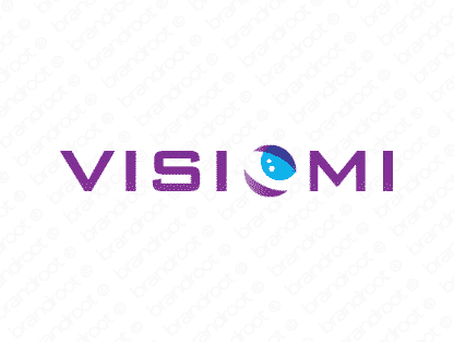 Visiomi logo design included with business name and domain name, Visiomi.com.