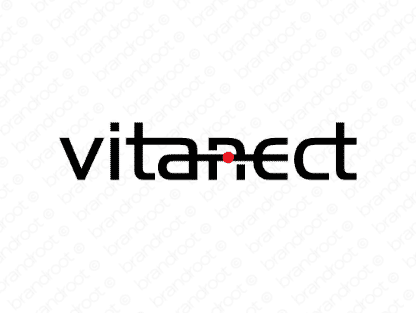 Vitanect logo design included with business name and domain name, Vitanect.com.