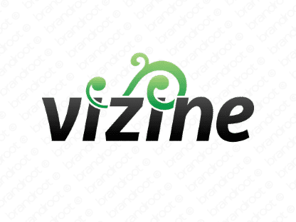 Vizine logo design included with business name and domain name, Vizine.com.
