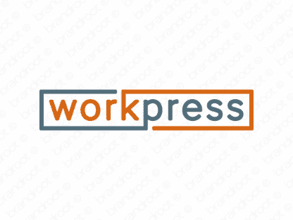 Workpress logo design included with business name and domain name, Workpress.com.