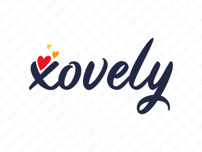 Xovely logo design included with business name and domain name, Xovely.com.