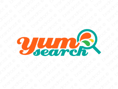 Yumsearch logo design included with business name and domain name, Yumsearch.com.