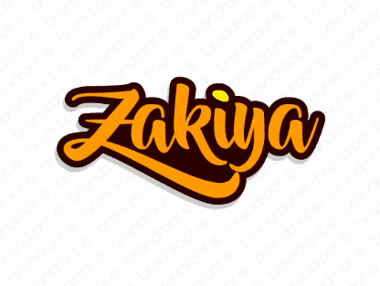 Zakiya logo design included with business name and domain name, Zakiya.com.