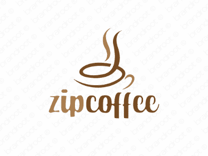 Zipcoffee logo design included with business name and domain name, Zipcoffee.com.