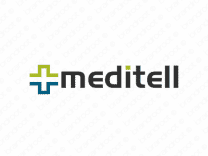 Meditell logo design included with business name and domain name, Meditell.com.
