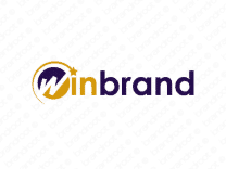 Winbrand logo design included with business name and domain name, Winbrand.com.